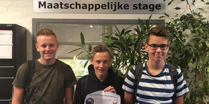 Brent, Julian en Thomas in actie voor Ronald McDonald Kinderfonds